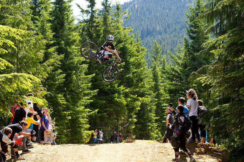 A shot of Aggy on his way to the Best Whip Not Brought Back at the first ever Whip-Off World Champs in Whistler. Be sure to plan your return earth, too! Photo by James Allan