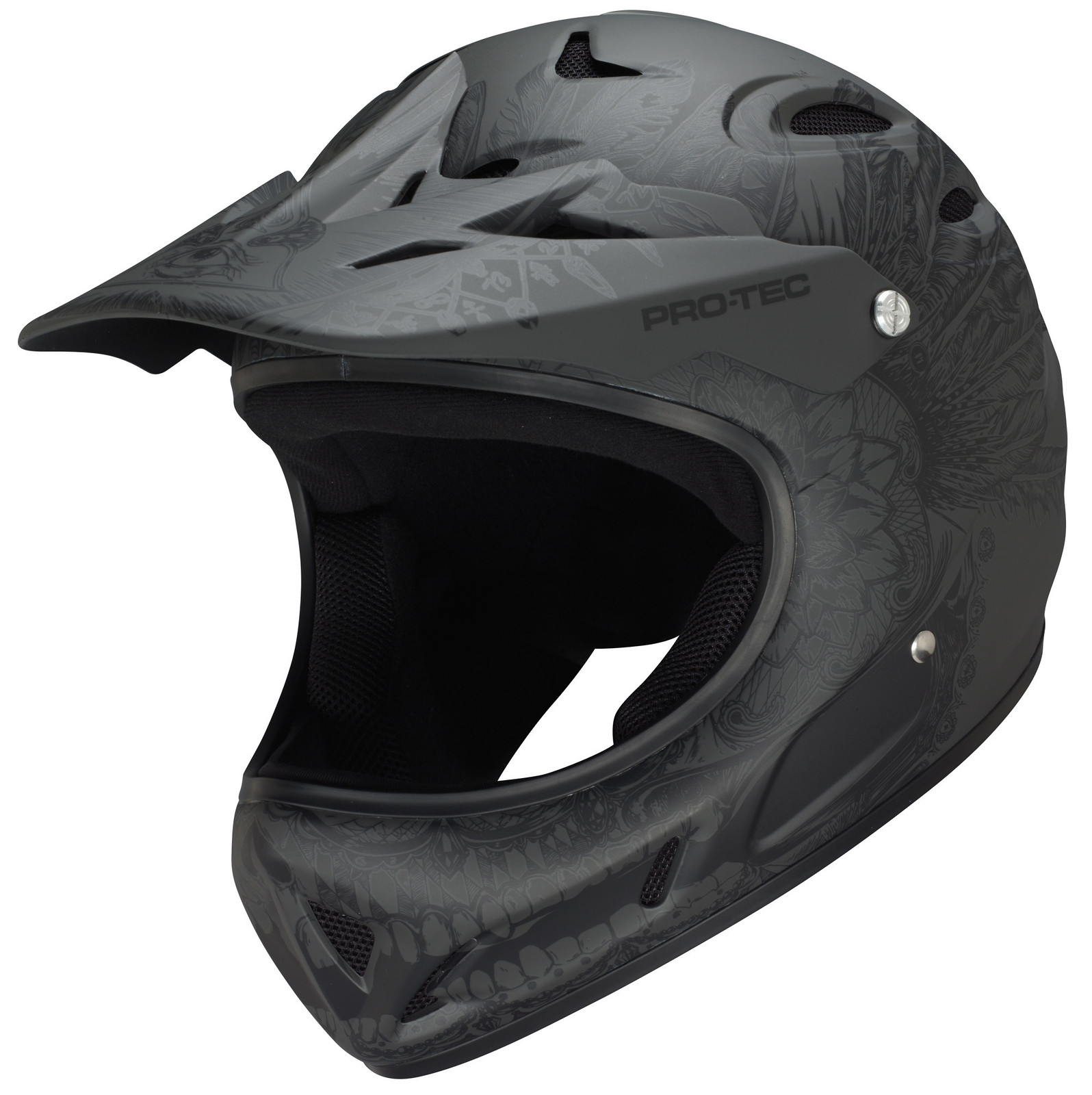 Pro-Tec Shovelhead 2 Full Face Helmet shovelhead-blackfeatherskull-sp14