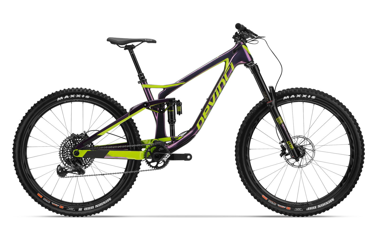 2018 Devinci Spartan Carbon X01 Eagle  2018 Devinci Spartan Carbon X01 Eagle in Purple and Green