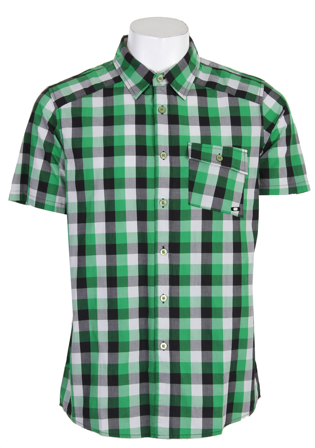 Oakley Slant Detail Plaid Woven Shirt Medium Green  oakley-slant-detailpld-polo-mediumgrn-10.jpg