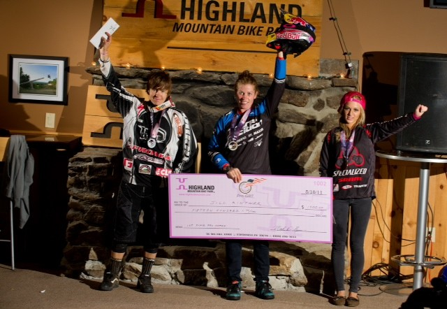 Women's podium. Note the pink check! - Photo: Matt DeLorme