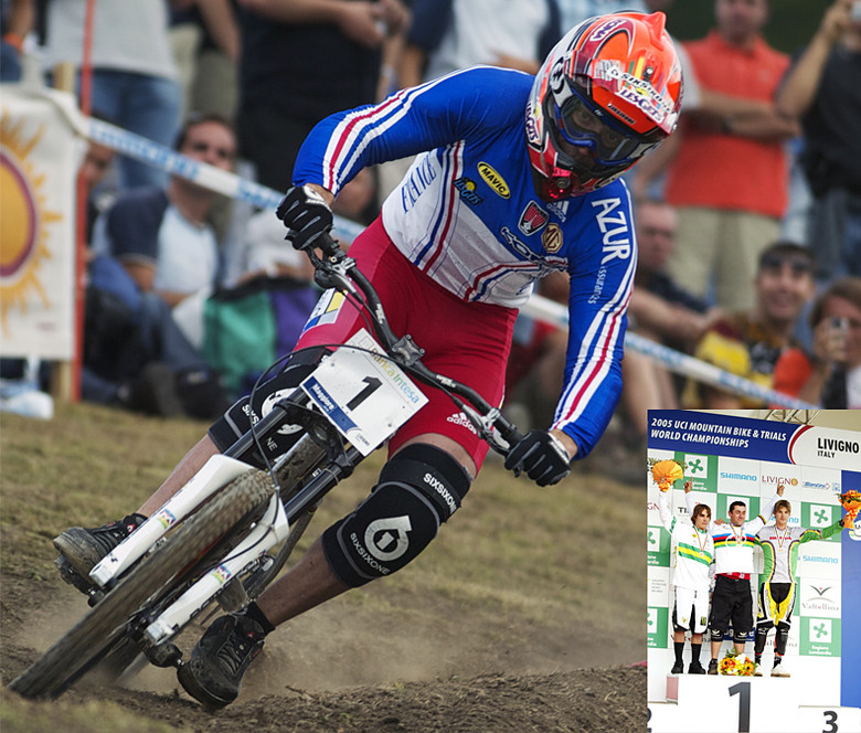 Fabien, no stranger to keeping his bike low to the ground, taking the gold at Livigno, 2005. photos by Gary Perkin