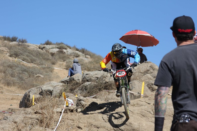 Stan Guerrero charging through Fontana's rocky terrain. - Photo by Meg Benitez
