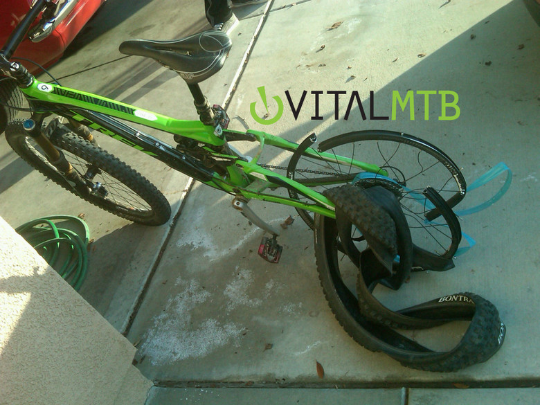 Aaron Gwin's Trek Slash after being hit by a truck going about 40mph. Thankfully Aaron is doing just fine.