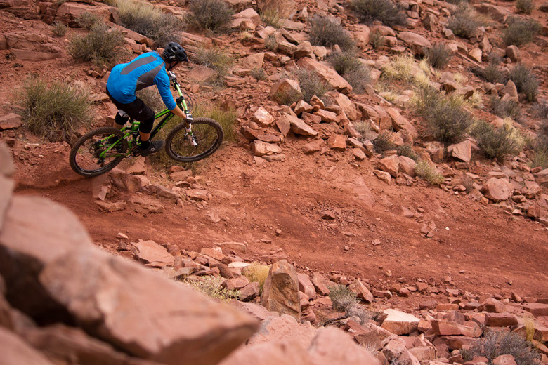 Letting 'er rip down Dave's Trail in Moab, Utah. Photo: Courtney Steen