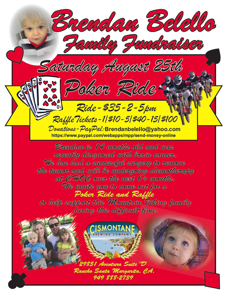 FUNDRAISER: Brendan Belello Poker Ride and Raffle, August 25