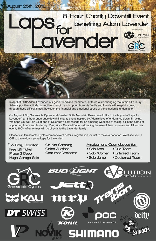 Laps for Lavender 8 Hour DH Race Benefit at Crested Butte
