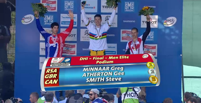 Your 2012 UCI World Cup Downhill podium finishers. Atta boy Greg!