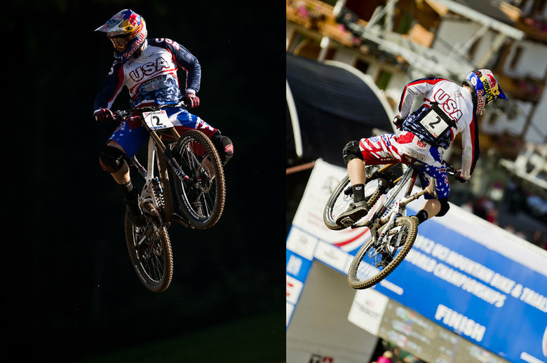 The bar hump heard 'round the world, near the bottom of Gwin's race run. - Photos by Duncan Philpott and Hoshi Yoshida