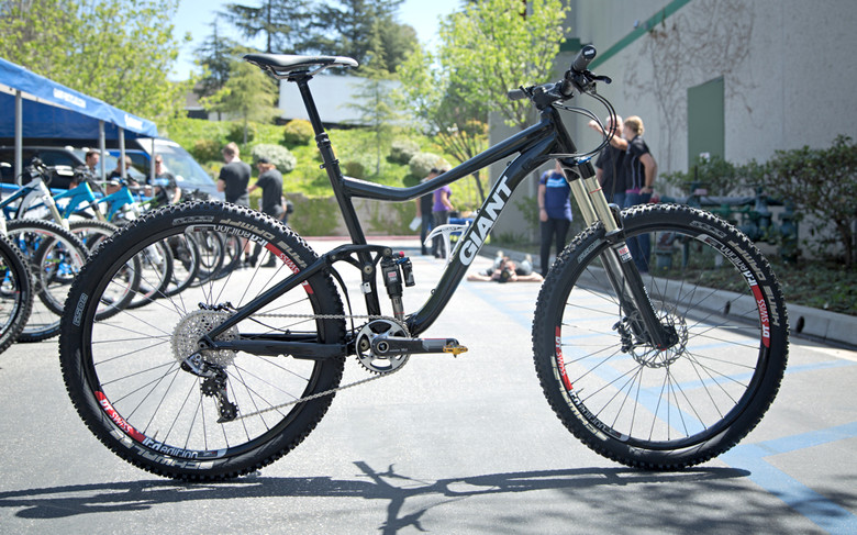 Adam Craig's prototype 650b carbon Giant trail bike. We were not given specifics about the bike other than wheel size and material.
