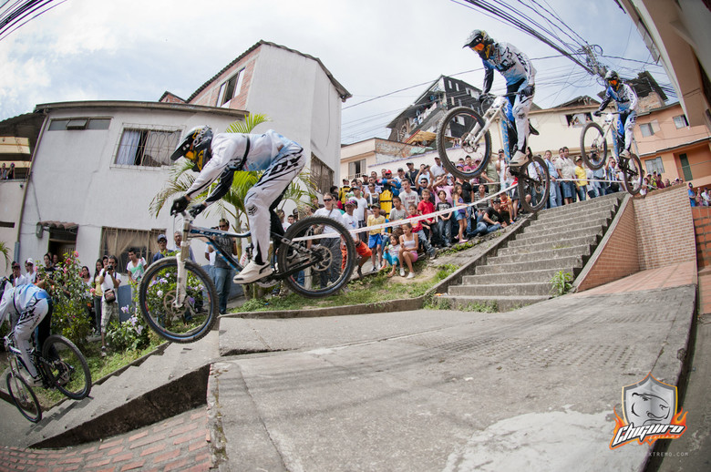 Marcelo gapping the stairs on the way to his first victory of 2013 at the Manizales Urban DH race.