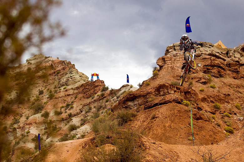 CG at the 2010 Rampage, checking the wind (aka flipping Sven Martin the bird!).