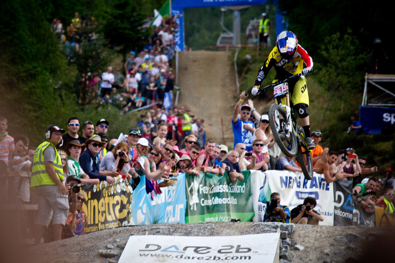 Rachel Atherton on her way to her first World Cup victory at Fort William.