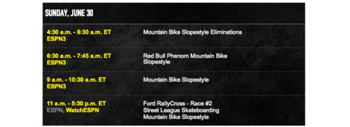 2013 X Games Mountain Bike Slopestyle Viewing Schedule and Course