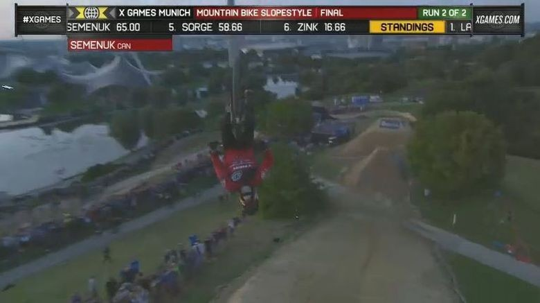 Semenuk backflipped the first drop in both his runs. Balls of steel.