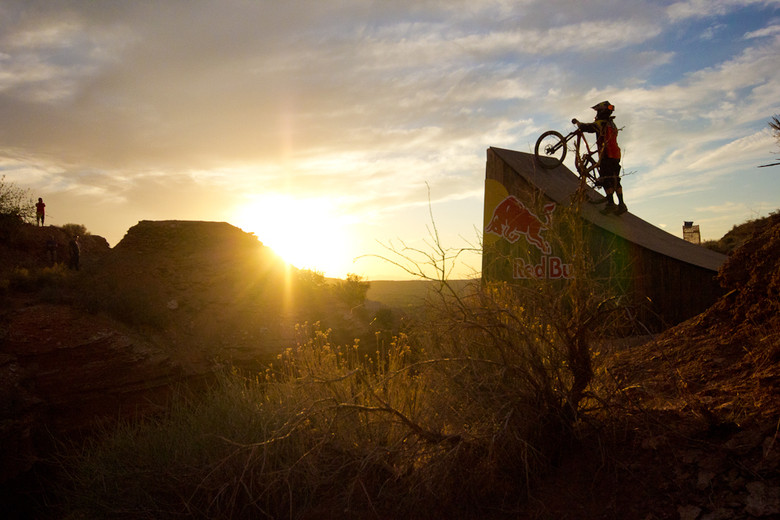 Cam McCaul lining up for the massive canyon gap at Red Bull Rampage 2012. // Photo: Brandon Turman