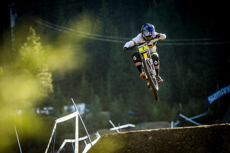 Rachel Atherton during much drier practice - photo by Sven Martin