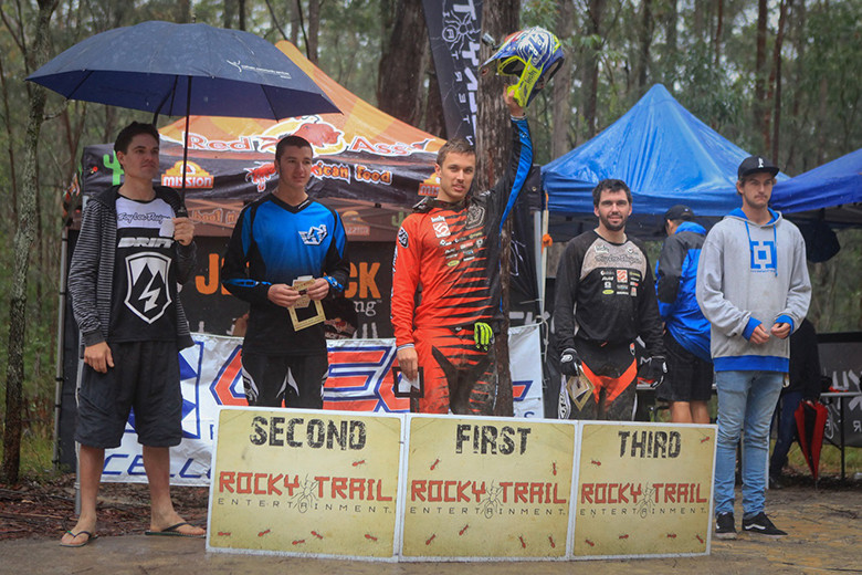 Photo: Deubel Bicycles - Elite Men's podium at Awaba (l-r): Regan Arthur (4th), Jake Newell (2nd), Graeme Mudd (1st), Rick Boyer (3rd), David McMillan (5th).