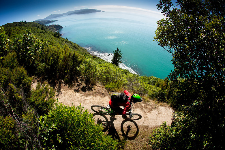 Somewhere near Nelson, South Island New Zealand. If you like wild, native, natural riding like this mixed with sunny coastal bay overlooks between Dec and April you can always book a Ride HouseMartin trip.