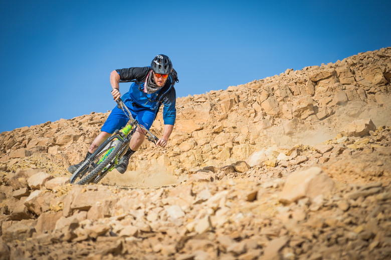 Mike didn't have much trouble adjusting to the loose and rocky trails of the Israeli desert