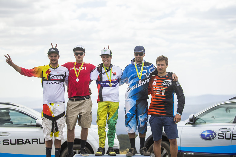 Australian National Round 2 Pro DH Podium - Troy Brosnan on top. Photo by Tim Bardsley-Smith