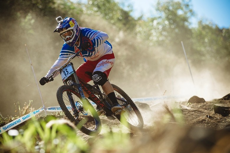 Aaron Gwin looking determined in practice onboard his 650B Specialized Enduro Proto - photo by Duncan Philpott
