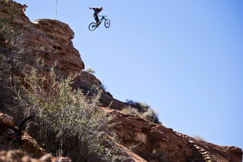 Fox rider Kyle Strait going huge at Rampage 2014 - photo by Courtney Steen.
