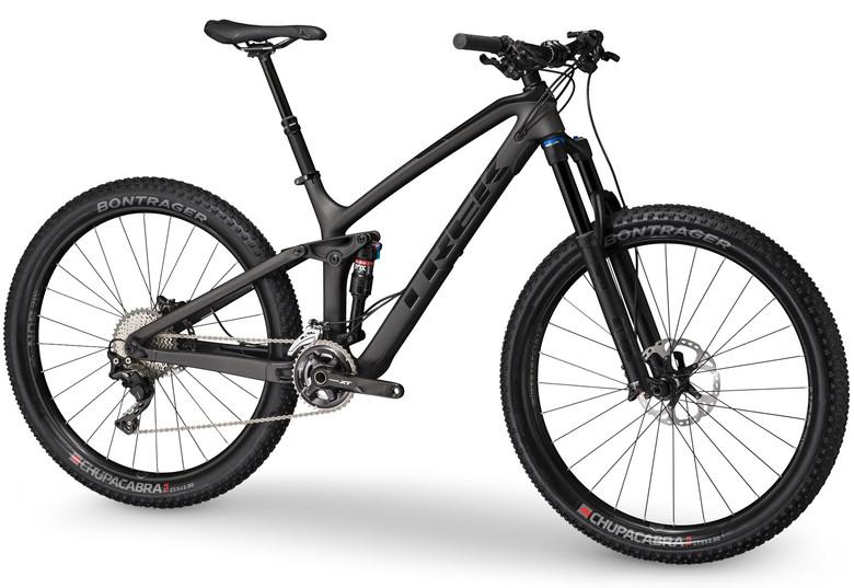 The $5299 Fuel EX 9.8 27.5 Plus features Trek's OCLV carbon frame construction.