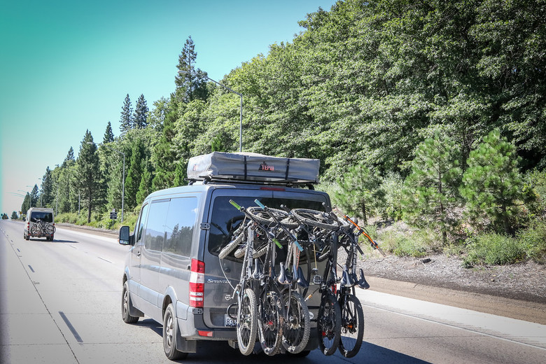 Van life is becoming prominent in the world of enduro.  We found several heading up I5 toward the event in Ashland.