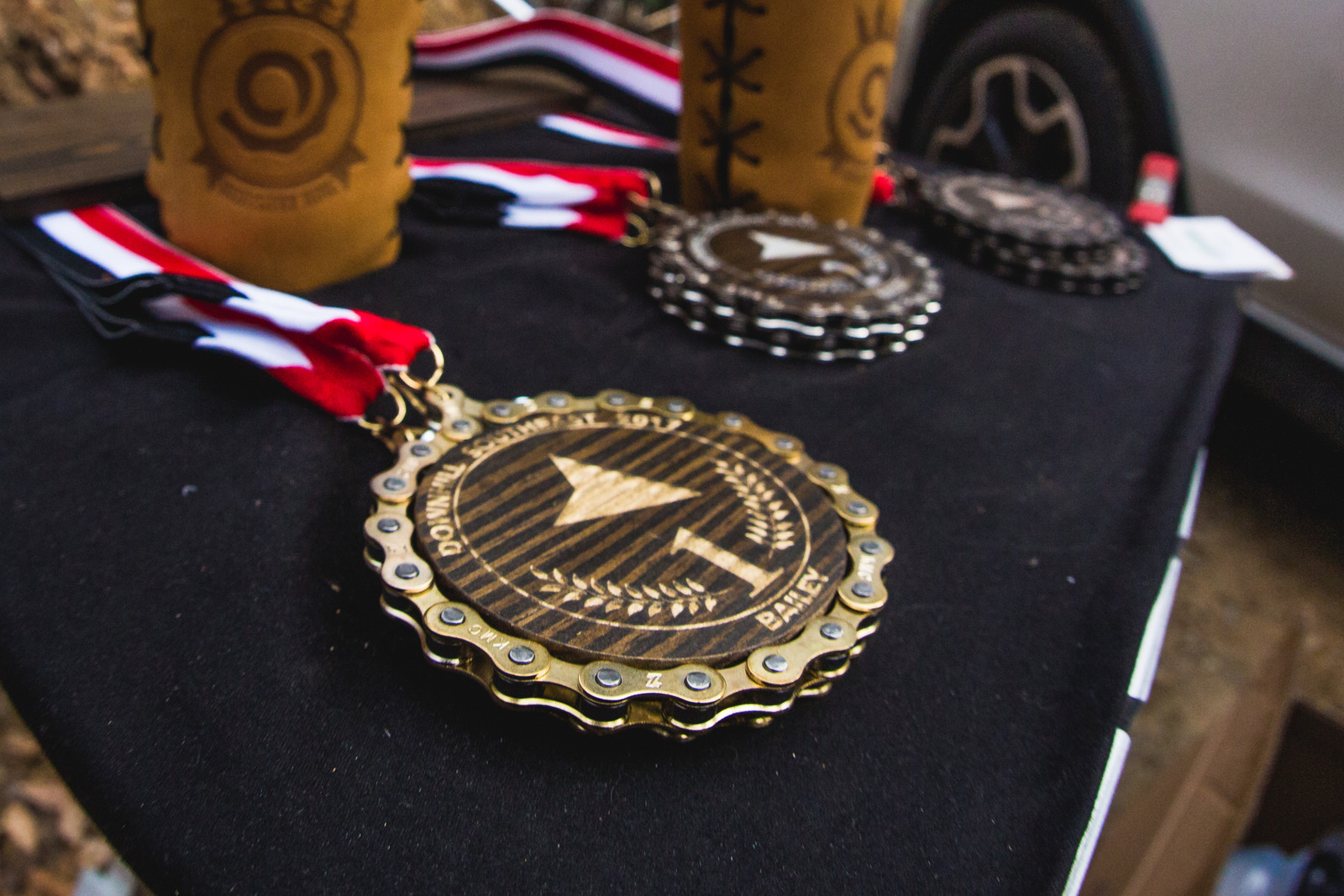 Carolina Pro Flooring delivered in a big way on the medals! They made and donated them for the all of the Downhill Southeast events, as well as the Pro GRT at Windrock.