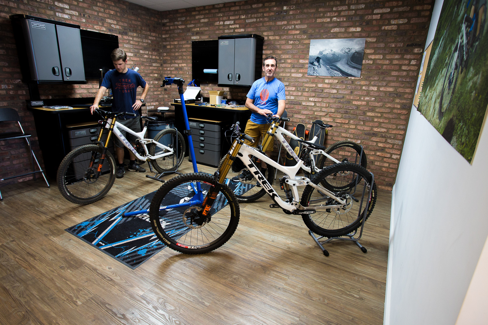 Trek's Suspension R&D Lab with a variety of prototypes.