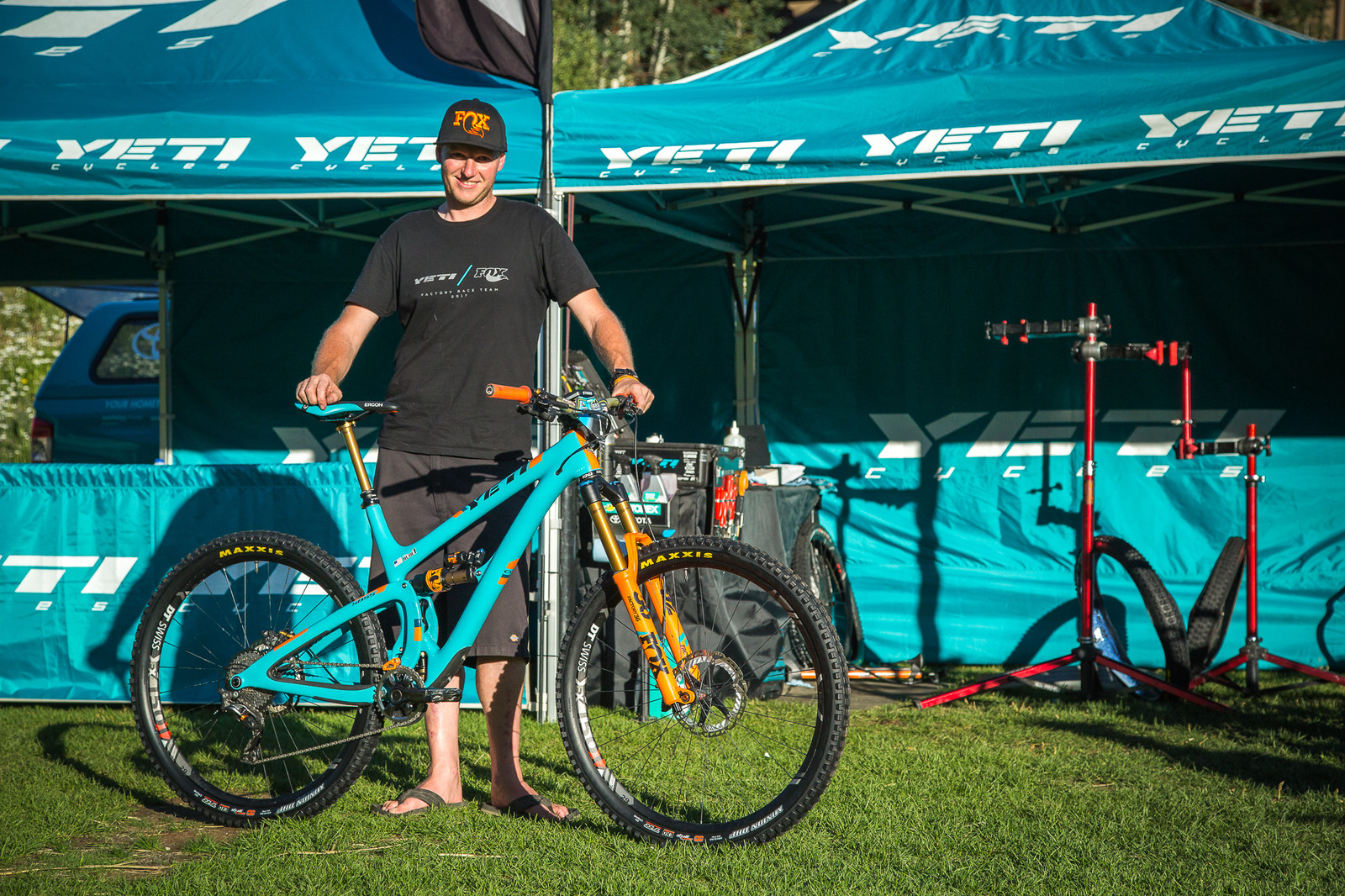 Richie's mechanic, Sean Hughes, shows off the steed.