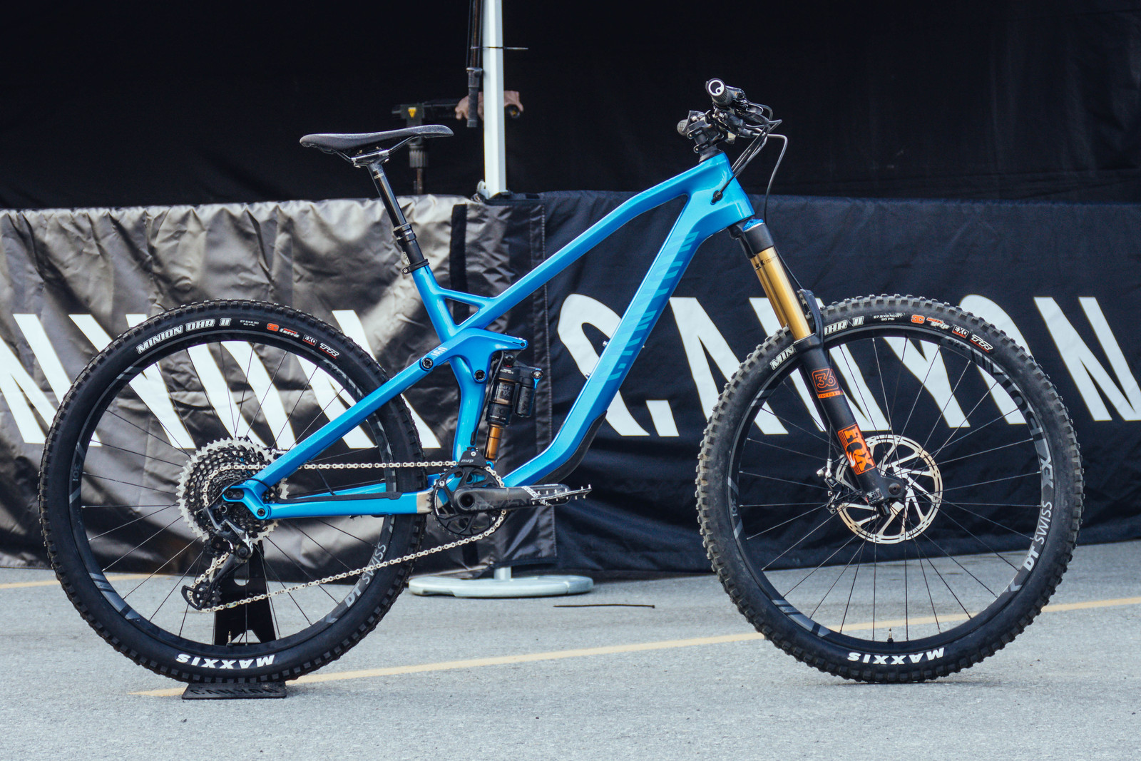 The 160/135mm travel carbon fiber Canyon Strive will start at $3,999 USD. It features Canyon's Shapeshifter technology which quickly changes geometry, travel, and suspension performance with a flip of a lever to suit your terrain.