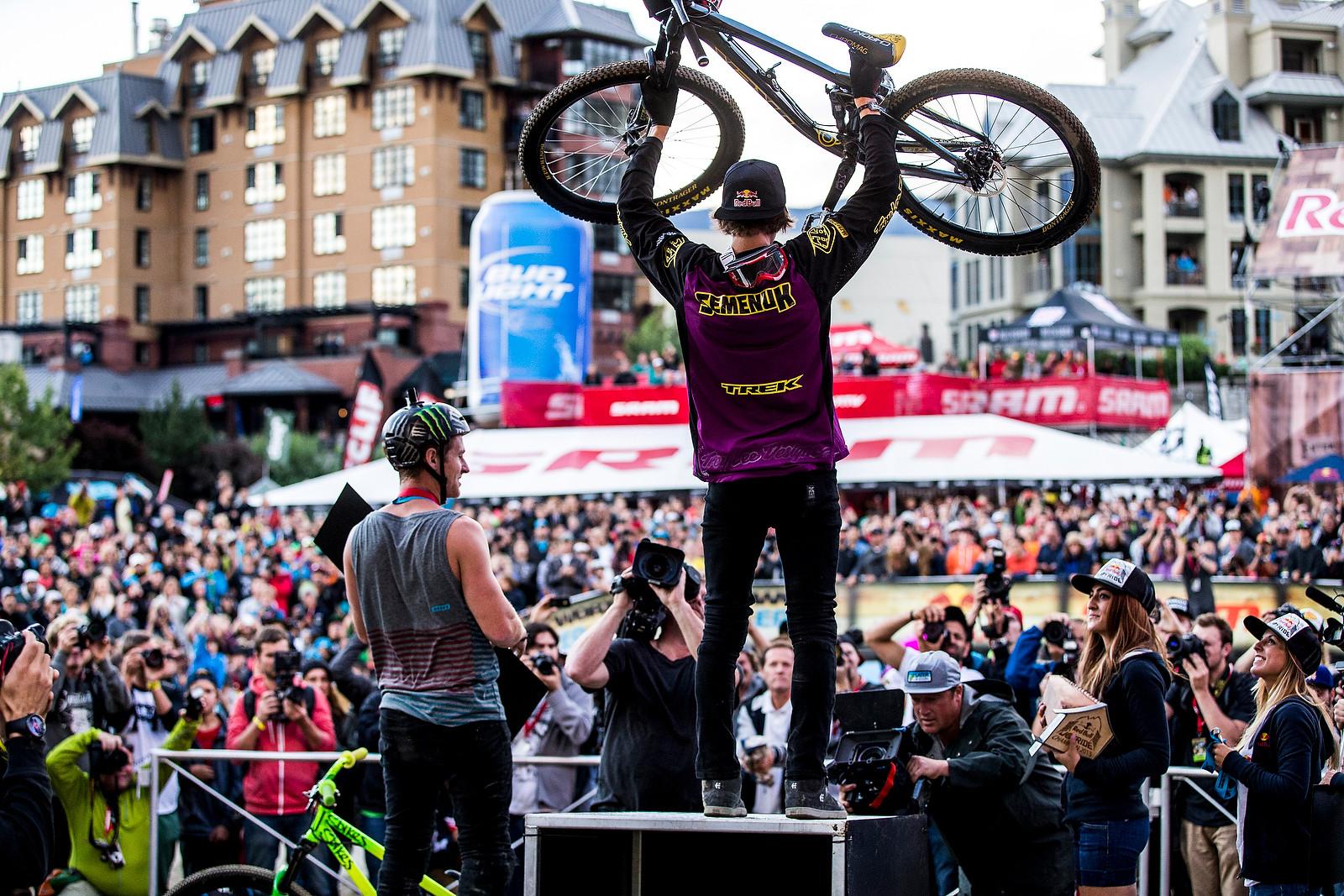 Brandon Semenuk on the Box - Winning Bike: Brandon Semenuk's Trek Ticket S - Mountain Biking Pictures - Vital MTB
