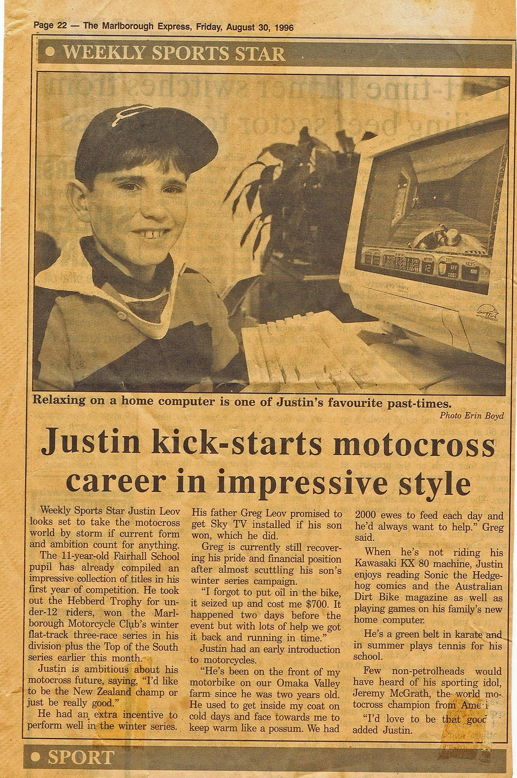 #ThrowbackThursday: 11-Year-Old Justin Leov's Spotlight in the Newspaper - bturman - Mountain Biking Pictures - Vital MTB