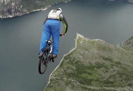 Base Jumping A Mountain Bike Off A 1000 Meter Cliff
