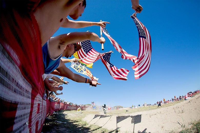Vital Member, tipeng94 had a lot of good entries, but we liked the creativity and angle with this shot from Dual Slalom. The crowd is a huge part of the Dual Slalom event and he captured the spirit by getting underneath the American flags. Well done.