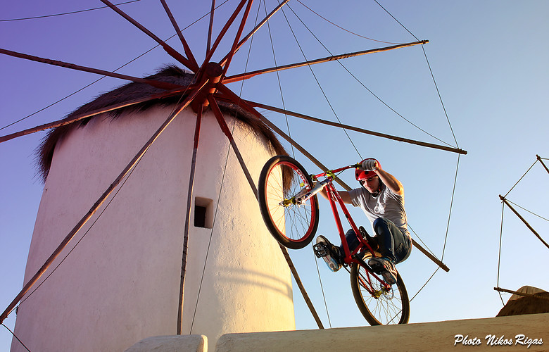 Ludwig Jager at Mykonos Windmill  - pappoulakos - Mountain Biking Pictures - Vital MTB