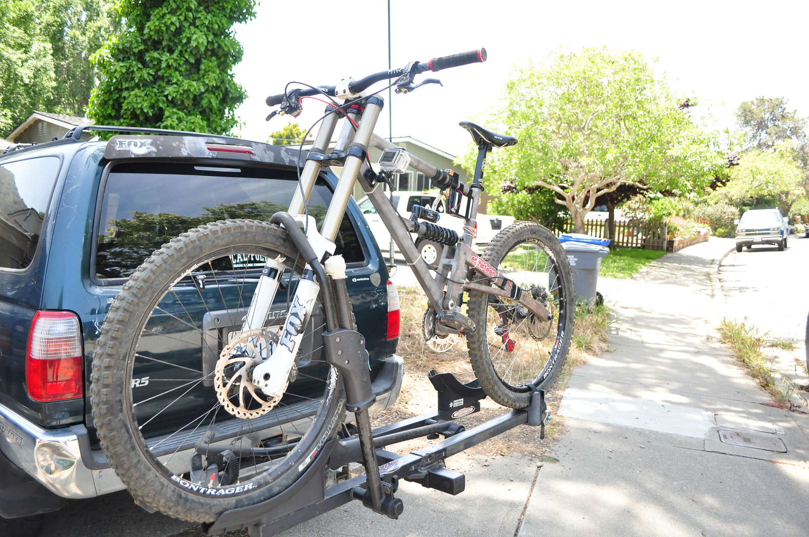 Custom downhill frame built myself.  Installed a DAQ system to pick up on trail forces and bike movement.  Able to read vertical forces @ rear wheel, vertical acceleration, suspension position and lateral acceleration.