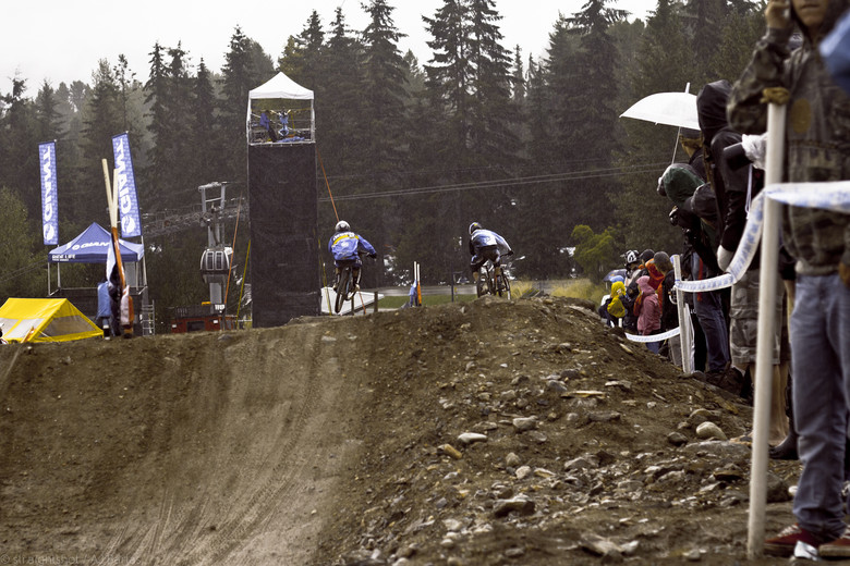 Crowds Lined the Final Straight, Despite Pouring Rain - Crankworx Slalom 2013 - Mountain Biking Pictures - Vital MTB