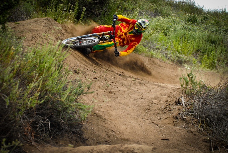 Leaning it over - Brendan Fairlcough Riding in 2013 Troy Lee Gear - Mountain Biking Pictures - Vital MTB
