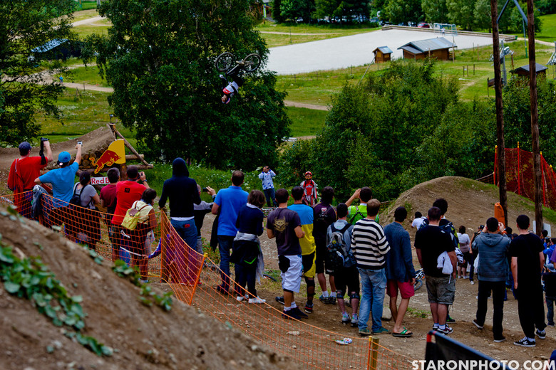 Brandon Semenuk Road Gap Backflip, Crankworx iXS Slopestyle and Teva Best Trick Winner - Brandon Semenuk Wins Slopestyle Finals at Crankworx Europe - Mountain Biking Pictures - Vital MTB