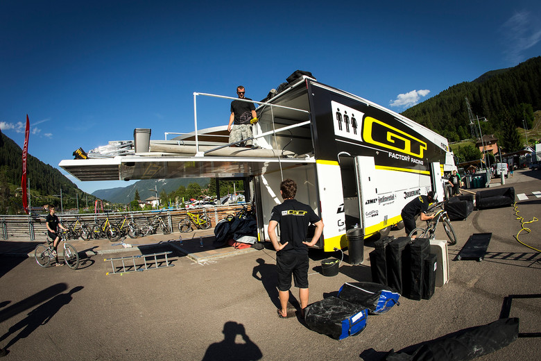 GT Factory Racing Big Rig with Elevator in Trailer (Up) - Pit Bits: 2013 Val di Sole World Cup - Mountain Biking Pictures - Vital MTB