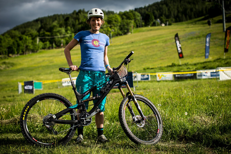 Rosara Joseph with her Yeti SB66c at Val d'Allos Enduor World Series - Pit Bits: Enduro World Series Val d'Allos, France - Mountain Biking Pictures - Vital MTB