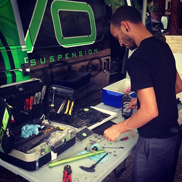 Ronnie of DVO with his Mobile Workspace - DVO Suspension Testing with Arma Energy MTB - Mountain Biking Pictures - Vital MTB