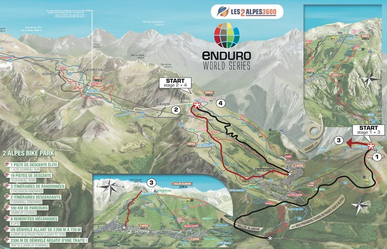 Course Map: Enduro World Series Les 2 Alpes - 4 Stages in 1 Day - Enduro World Series Les 2 Alpes Pre-race Insight - Mountain Biking Pictures - Vital MTB