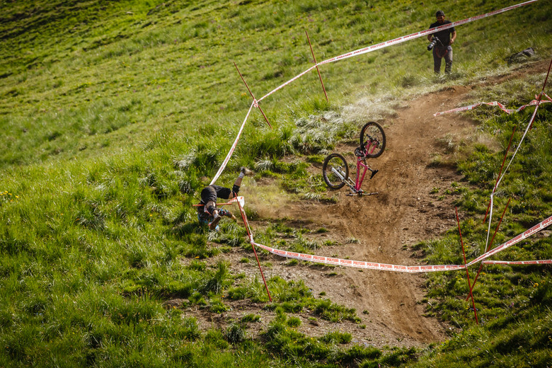 Massive Crash During Crankworx L2A Air Downhill Practice - Crankworx L2A - Air Downhill Photo Action - Mountain Biking Pictures - Vital MTB