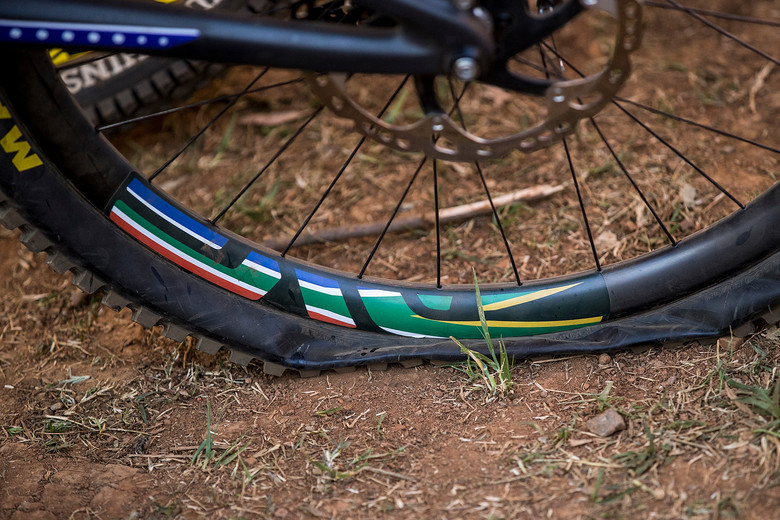 Greg Minnaar's Single Ply Maxxis Rear Tire After Crossing the Finish at World Champs - WINNING BIKE: Greg Minnaar's World Champs Santa Cruz V10c - Mountain Biking Pictures - Vital MTB