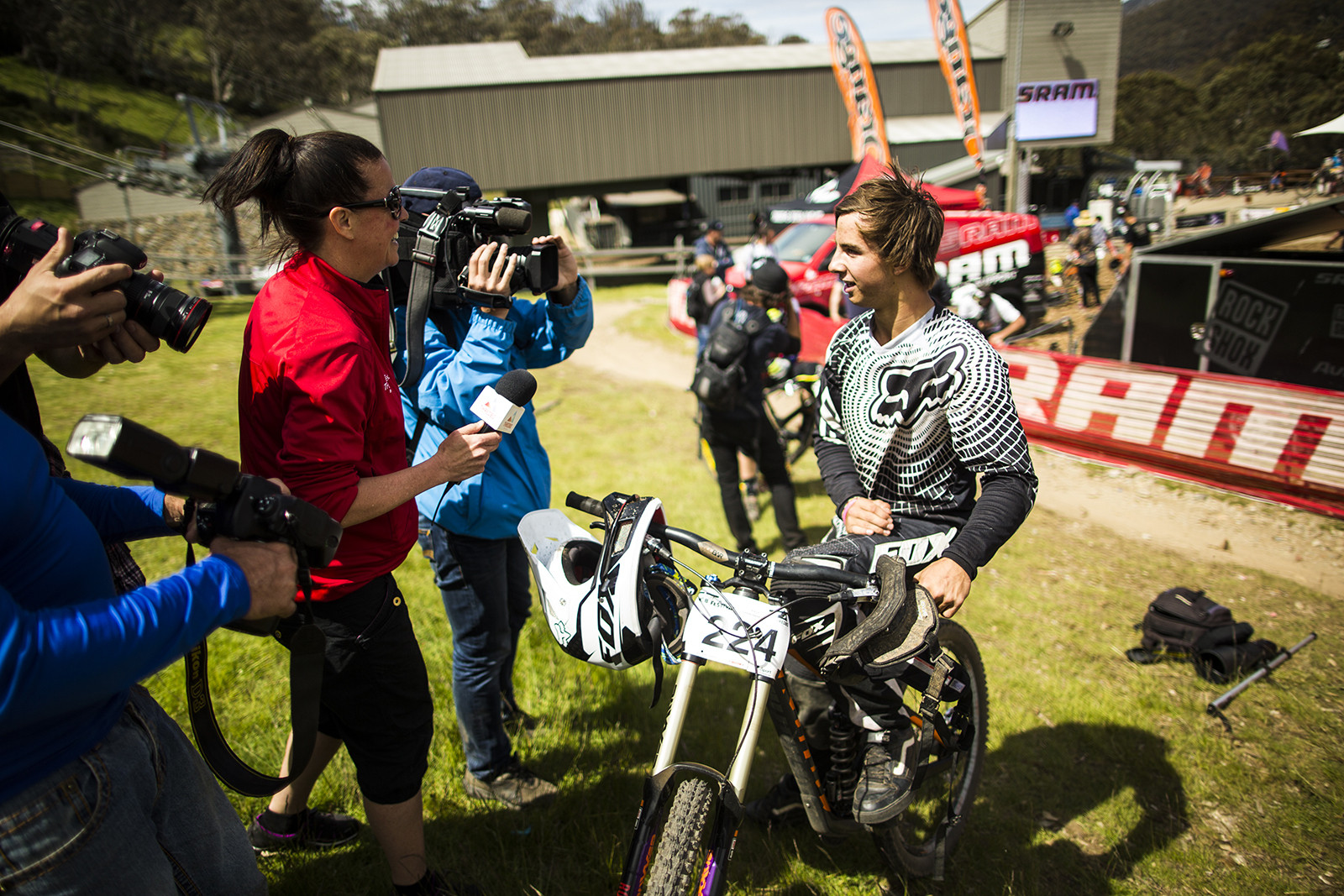 Andrew Crimmins Getting Grilled by the Media After Winning the Thredbo Cannonball Downhill - Winning Bike: Andrew Crimmins' Kona Supreme Operator - Mountain Biking Pictures - Vital MTB