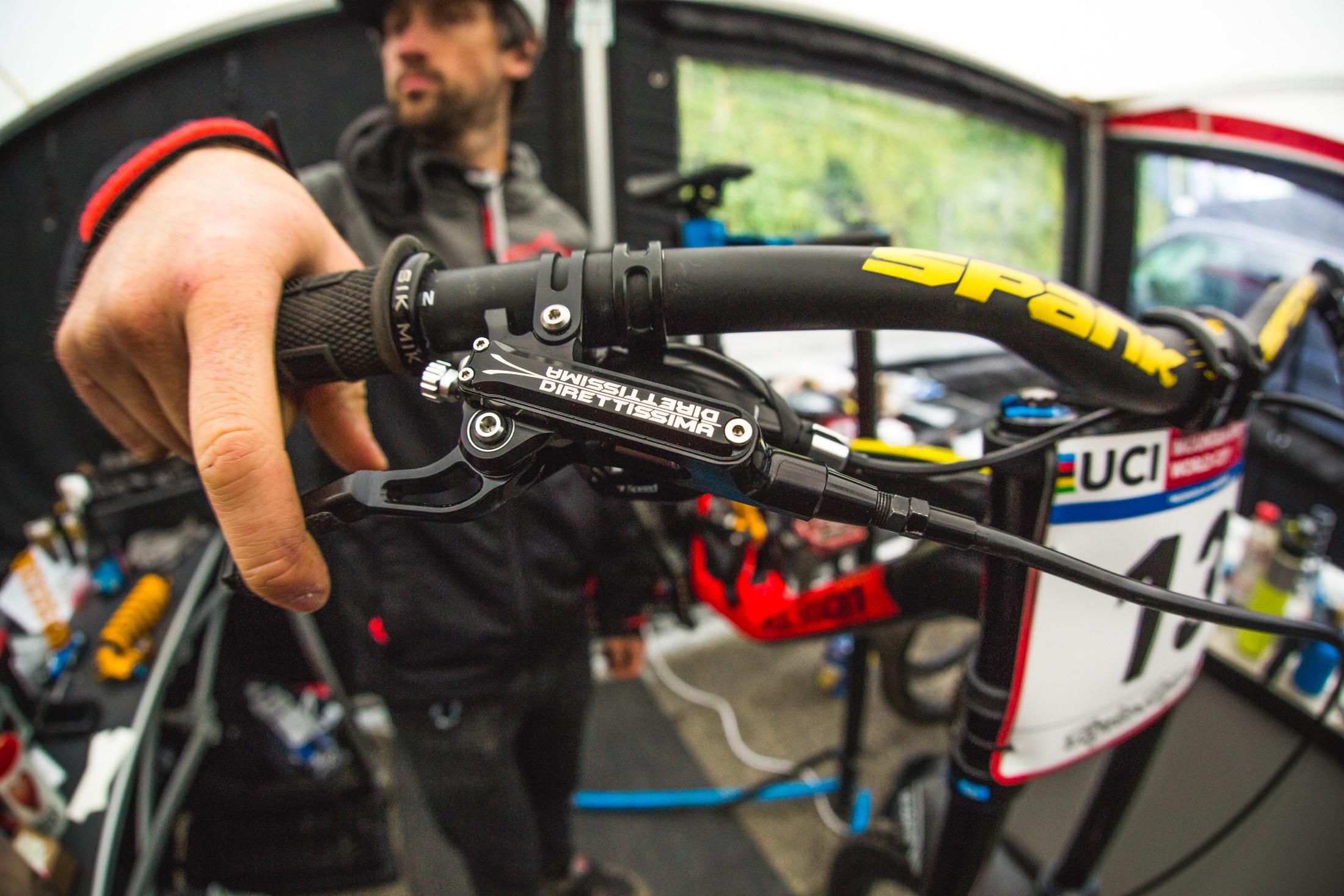 Jon Stout, Mick's Mechanic, models the grip-taped lever of the Direttissima.